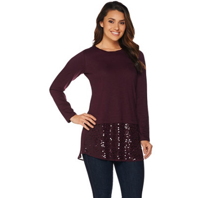 """As Is"" LOGO by Lori Goldstein Knit Top with Sequin Chiffon Hem"