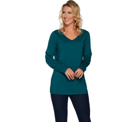 Belle by Kim Gravel TripleLuxe Long Sleeved Top w/ Sparkle