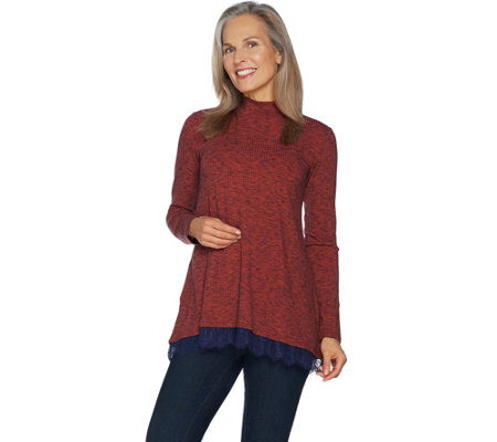 LOGO by Lori Goldstein Sweater Knit Mock Neck Top w/ Lace at Hem