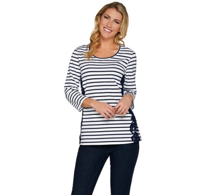 """As Is"" Denim & Co. Striped 3/4 Sleeve Scoop Neck Top w/ Lace Detail"