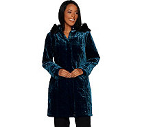 Isaac Mizrahi Live! Velvet Puffer Coat with Faux Fur Trimmed Hood - A298789