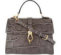 Dooney & Bourke Croco Embossed Leather Satchel Handbag -Claire - A300789