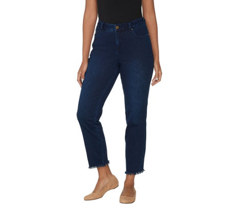 Belle by Kim Gravel Flexibelle Frayed Edge Ankle Jeans