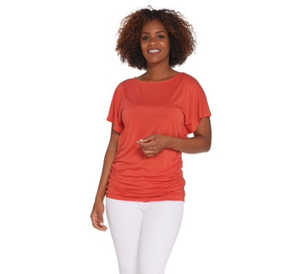Lisa Rinna Collection Short Sleeve Top with Side Ruching