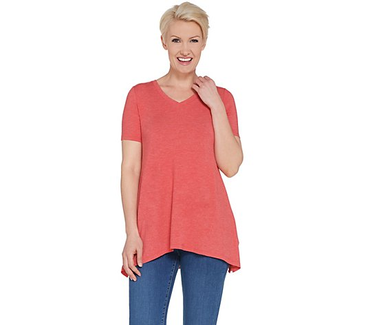 LOGO Lounge by Lori Goldstein Jersey V-neck Top with Rib Side Panels