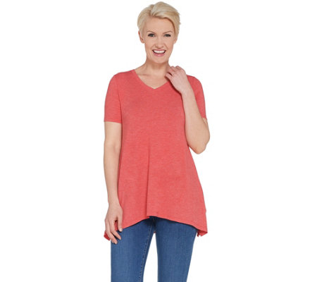 Logo Lounge By Lori Goldstein Jersey V Neck Top With Rib Side Panels