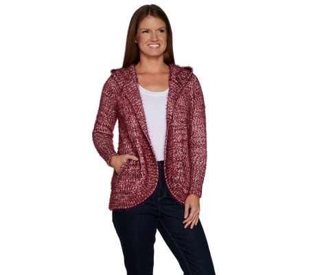 """As Is"" Isaac Mizrahi Live! SOHO Textured Open Front Hooded Cardigan"