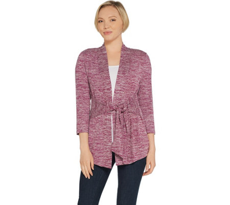 H by Halston Knit Sleeve Tie Front Cardigan