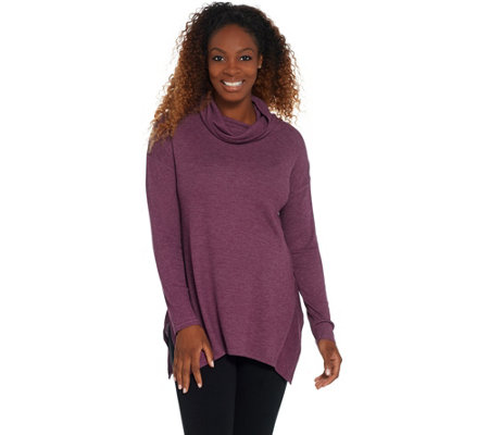 Cuddl Duds Stretch Thermal Handkerchief Cowl Neck Long Sleeve Top