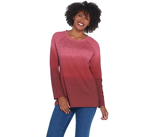 Quacker Factory Dip Dye Ombre Sequin Front French Terry Pullover