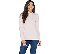 Martha Stewart Luxe Cotton Long Sleeve Mock-Neck Top - A342389