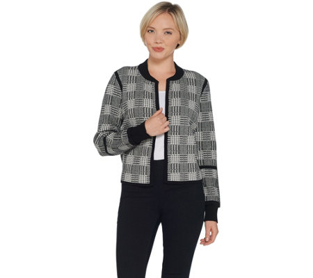 Vince Camuto Kiss Front Plaid Jacquard Sweater Jacket