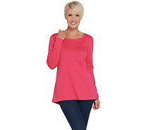 Isaac Mizrahi Live! Essentials Pima Cotton Long Sleeve Knit Top - A344589