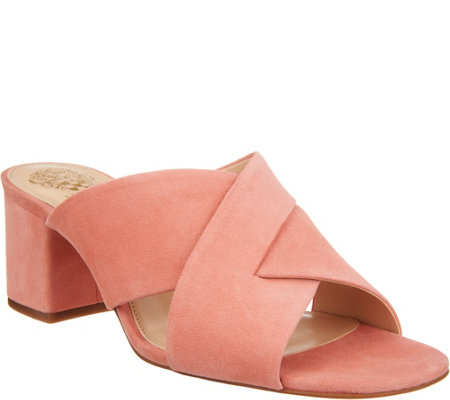 """As Is"" Vince Camuto Leather or Suede Cross Band Mules - Stania"