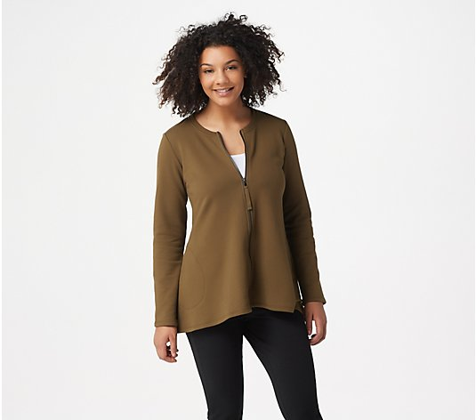 LOGO Lounge by Lori Goldstein Two-Tone Terry Zip-Front Jacket