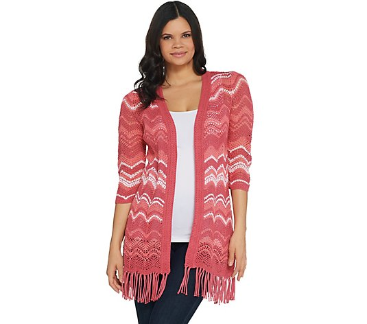 """As Is"" Isaac Mizrahi Live! TRUE DENIM Chevron Knit Cardigan"