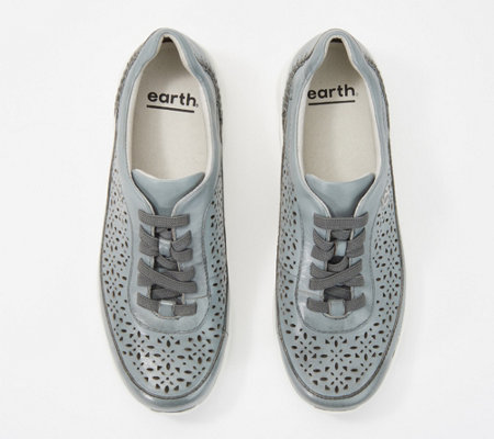 Earth Leather Perforated Lace-Up Sneakers - Nimble Viva