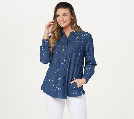 Joan Rivers Denim Shirt with Back Button Details