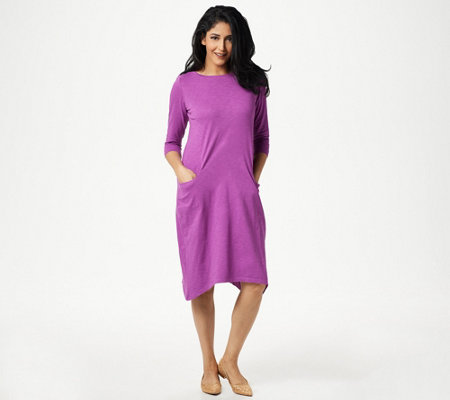 LOGO by Lori Goldstein Cotton Slub Cocoon Dress with Pockets