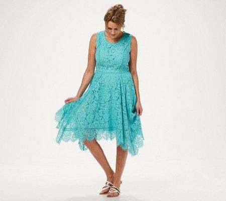 59c92fbeb4a Isaac Mizrahi Live! Regular Handkerchief Hem Floral Lace Midi Dress ...