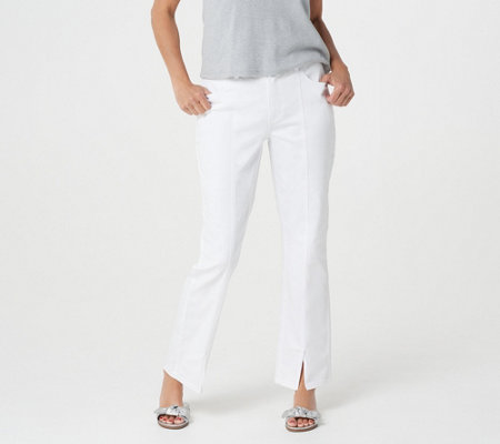 Lisa Rinna Collection White Denim Jeans with Seam Detail