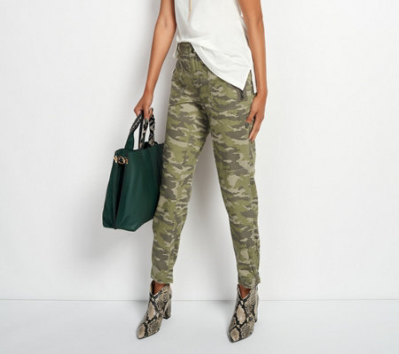 G I L I Camo Printed Cargo Pants With Zip Pocket Detail