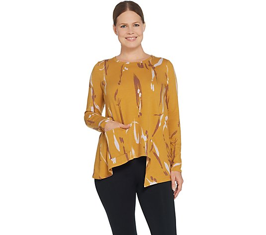 """As Is"" LOGO Lounge by Lori Goldstein Printed French Terry Top"