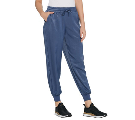 """As Is"" AnyBody Loungewear Petite Satin Jogger Pants"
