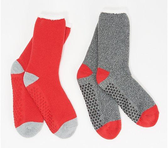 CUDDL DUDS 2 pairs WOMENS LOUNGE CREW SOCKS SOFT COZY Fits 4-10 cuddle