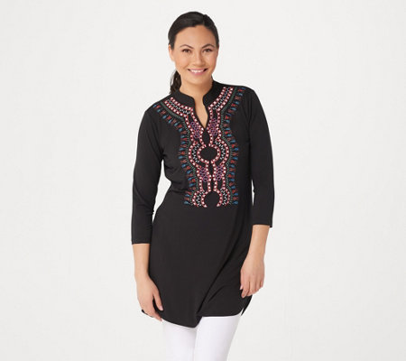 Attitudes by Renee Petite Como Jersey Embroidered Tunic
