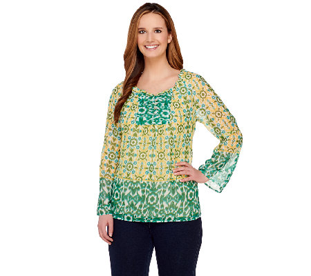 Susan Graver Crinkle Sheer Chiffon Border Print Long Sleeve Top