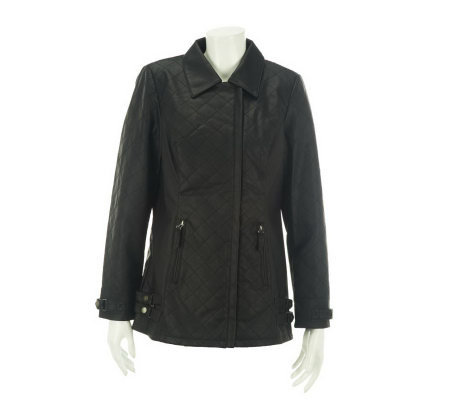 Dennis Basso Faux Leather Asymmetrical Zip Front Quilted Jacket