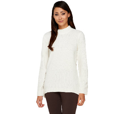 Denim & Co. Chenille Mock Neck Sweater