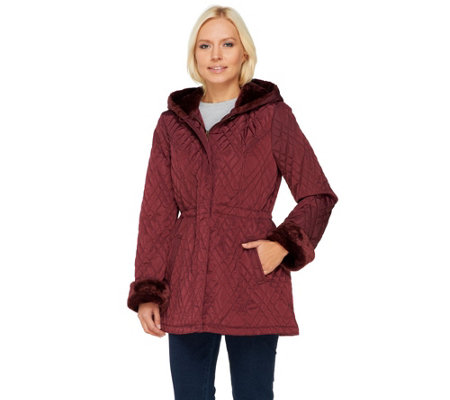 Dennis Basso Cinch Waist Quilted Anorak with Faux Fur Trim