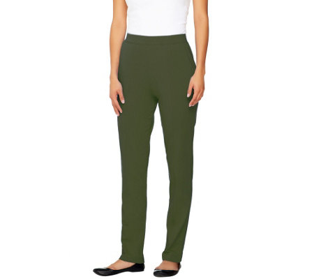 Denim & Co. Active Petite French Terry Pull-on Pants w/ Seam Detail