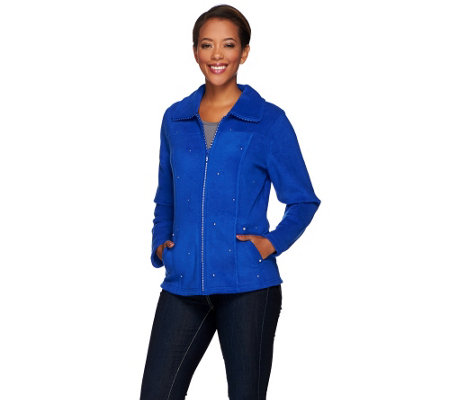 Quacker Factory Rhinestone Zip Front Fleece Jacket
