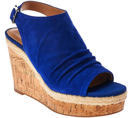 Franco Sarto Suede Ruched Open-toe Wedge Sandals - Trellis