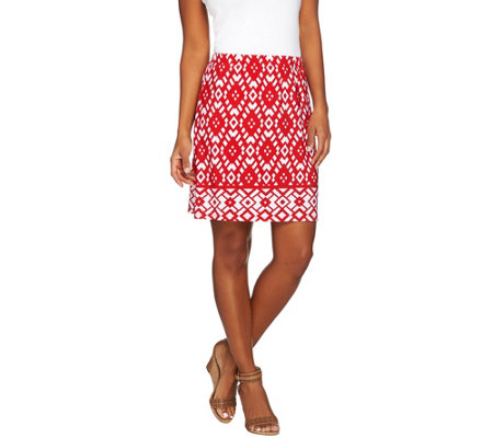 Susan Graver Choice of Solid or Print Liquid Knit Pull-On Skort