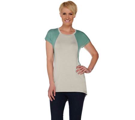 LOGO by Lori Goldstein Color-Block Short Sleeve Knit Top