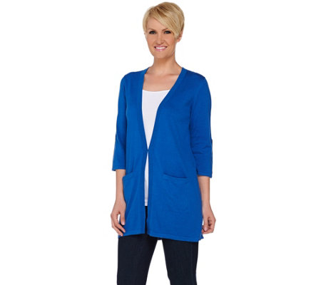 Joan Rivers Wardrobe Builders Cardigan w/ Tab Sleeve Detail
