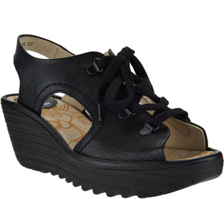 FLY London Leather Lace-Up Wedge Sandals - Ylfa