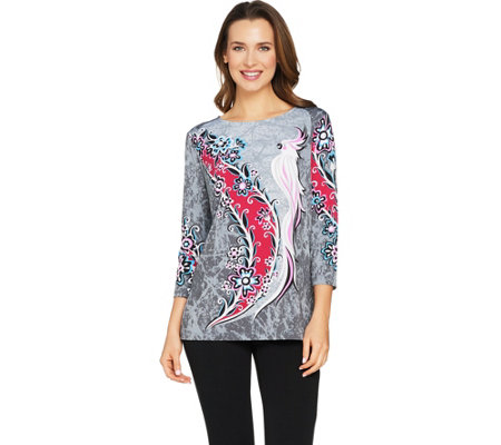 Bob Mackie's 3/4 Sleeve Cockatoo Floral Printed Knit Top