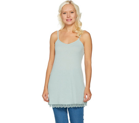 """As Is"" LOGO by Lori Goldstein Pique Knit Camisole with Lace at Hem"