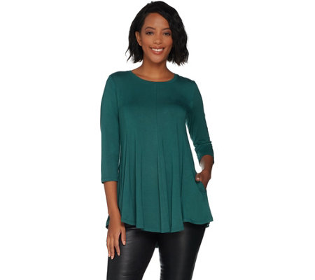 LOGO by Lori Goldstein Solid 230 Knit Top with Swing Hem