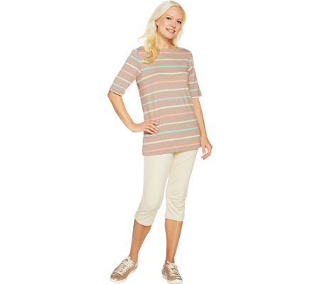 """As Is"" Denim & Co. Active Striped Knit Top And Capri Pants Set"
