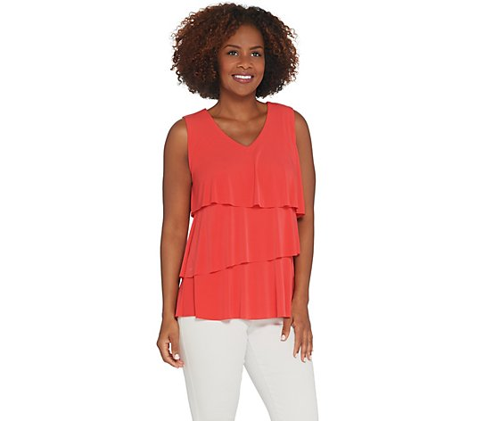 Every Day by Susan Graver Liquid Knit Sleeveless Tiered Top