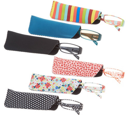 Hummingbird Set of 6 Pretty Patterns Reading Glasses Strength 3-3.5