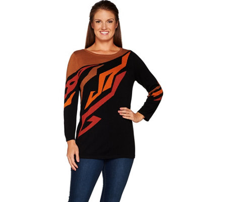 """As Is"" Bob Mackie's 3/4 Sleeve Print Pull Over Sweater"