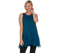 LOGO Layers by Lori Goldstein Solid Knit Tank with Godet Detail - A342790