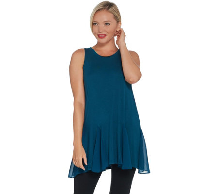 LOGO Layers by Lori Goldstein Solid Knit Tank with Godet Detail